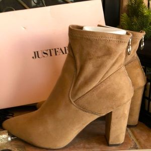 JustFab Size 10 Taupe Zoey Booties back Zip